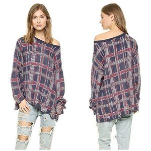 Wildfox | Plaid Oversized Printed Grunge Sweater